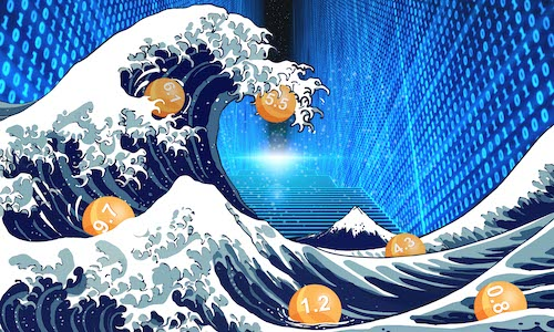 An illustrative take on the iconic art piece, The Great Wave off Kanagawa.